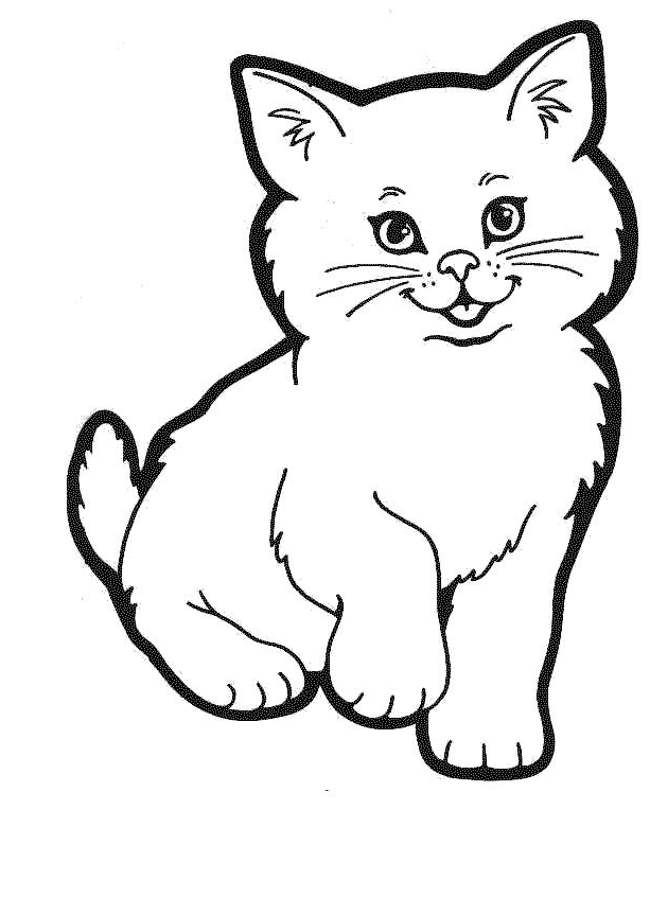 Pictures Of Cats To Colour Cartoon Cat Drawing Simple Cat