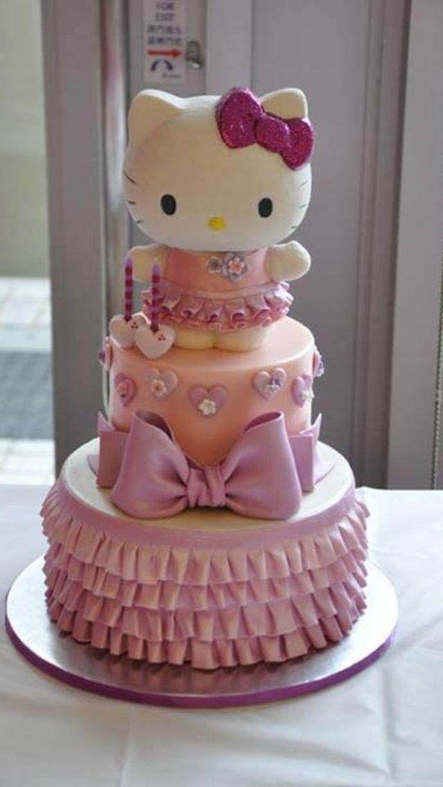 Kitty cake! Hello kitty birthday cake, Hello kitty cake