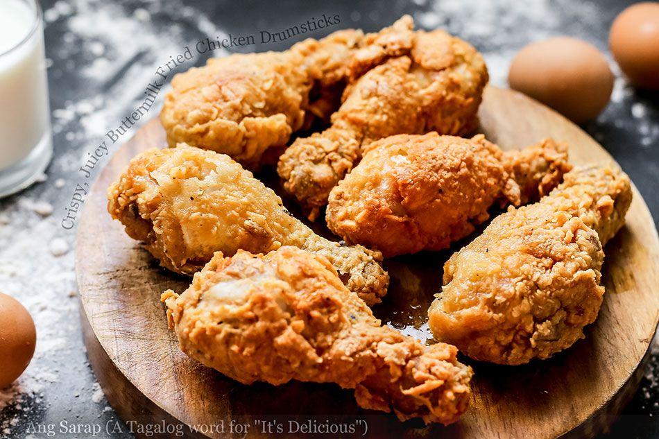Crispy Juicy Buttermilk Fried Chicken Drumsticks Buttermilk Fried Chicken Food Fried Chicken
