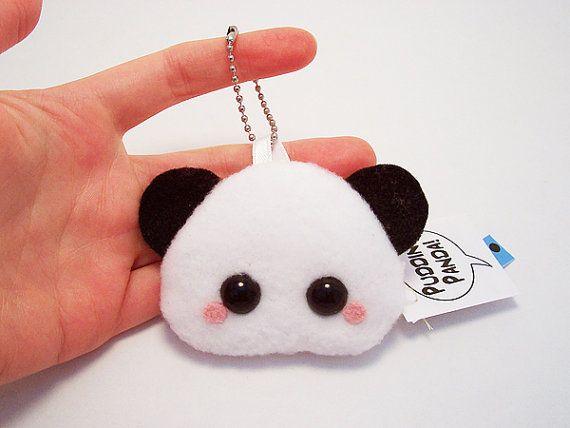 Pudding Panda Bear Plushie Keychain kawaii stuffed toy by quacked