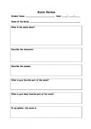 English Worksheet Movie Review Sheet Notes Template