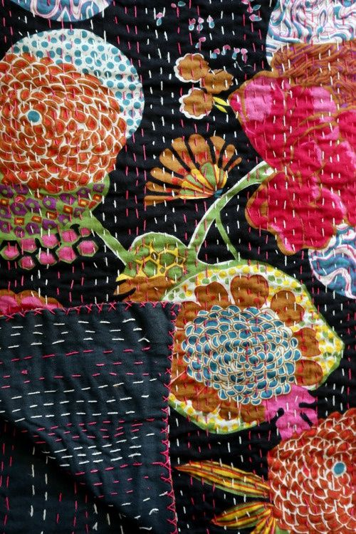 Satsuma Street, simple running stitch on bold patterned fabric