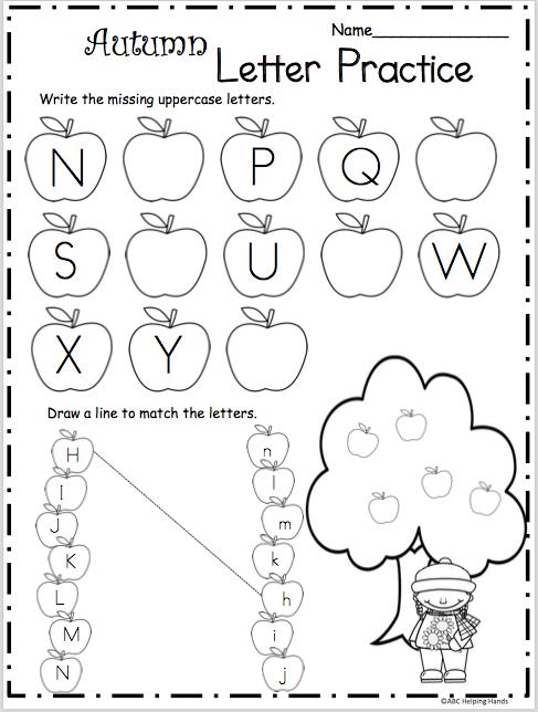 Fall Letters Practice N To Z Madebyteachers Kindergarten Alphabet Practice Alphabet Worksheets Preschool Letter Practice Preschool