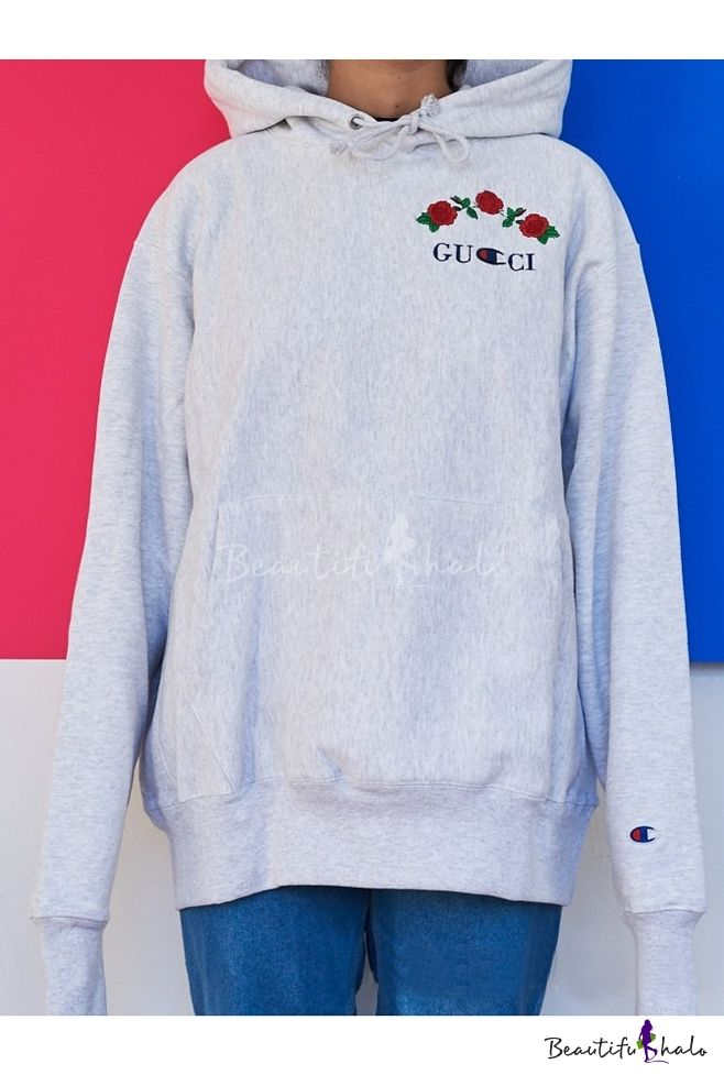Drawstring Hooded Embroidery Letter Floral Pattern Hoodie Sweatshirt -  Beautifulhalo.com fae603283