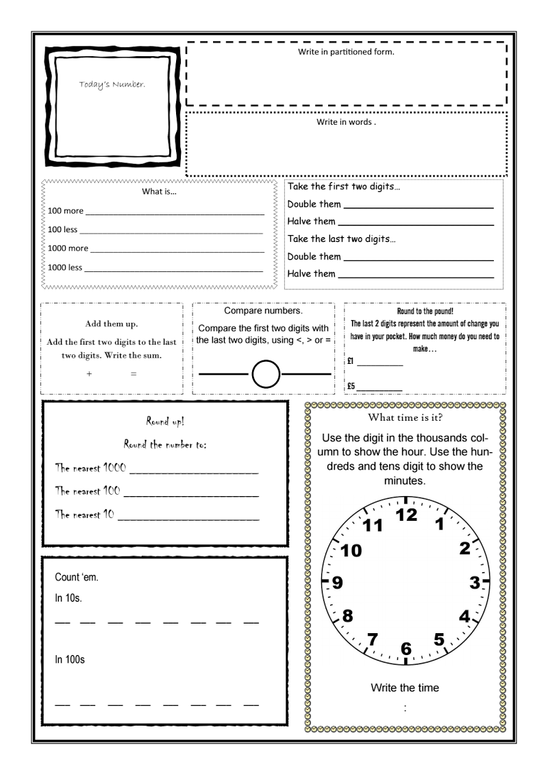 Daily Maths Sheet for mental oral starters. Designed this one myself from the ideas of many others.