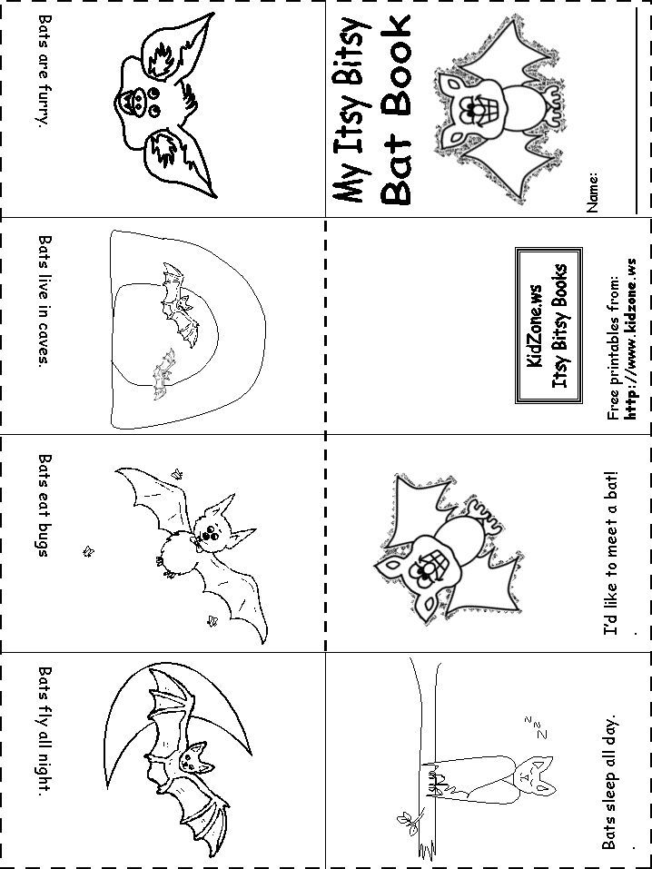 Bat Activity Sheets Itsy Bitsy