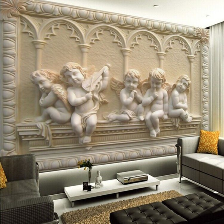 3D Wallpaper Mural Cupid Angel Statues European Wall
