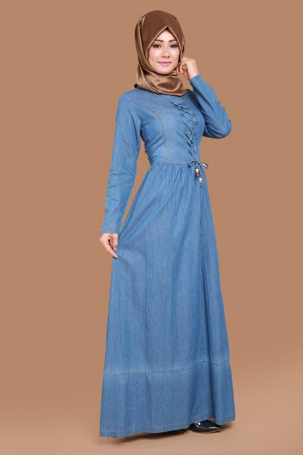 eeb9898d2d461 Modaselvim yeni ürünleri en uygun fiyat ve kapıda ödeme seçeneği ile hemen  sipariş verebilirsiniz. Örgü Bağcıklı Kot Elbise ...