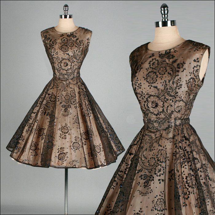 Vintage 1950s Dress . Black Sheer Chiffon . Full Skirt . Flocked Flowers . XS/S . 1487. $245.00, via Etsy.