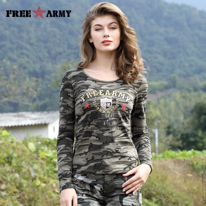 6f4c72c78c6ad Brand T Shirt Long Sleeve Women Cotton Printing T Shirts Women Tops Tees  Military Slim Spandex Casual Camo Shirt Gs-8359B