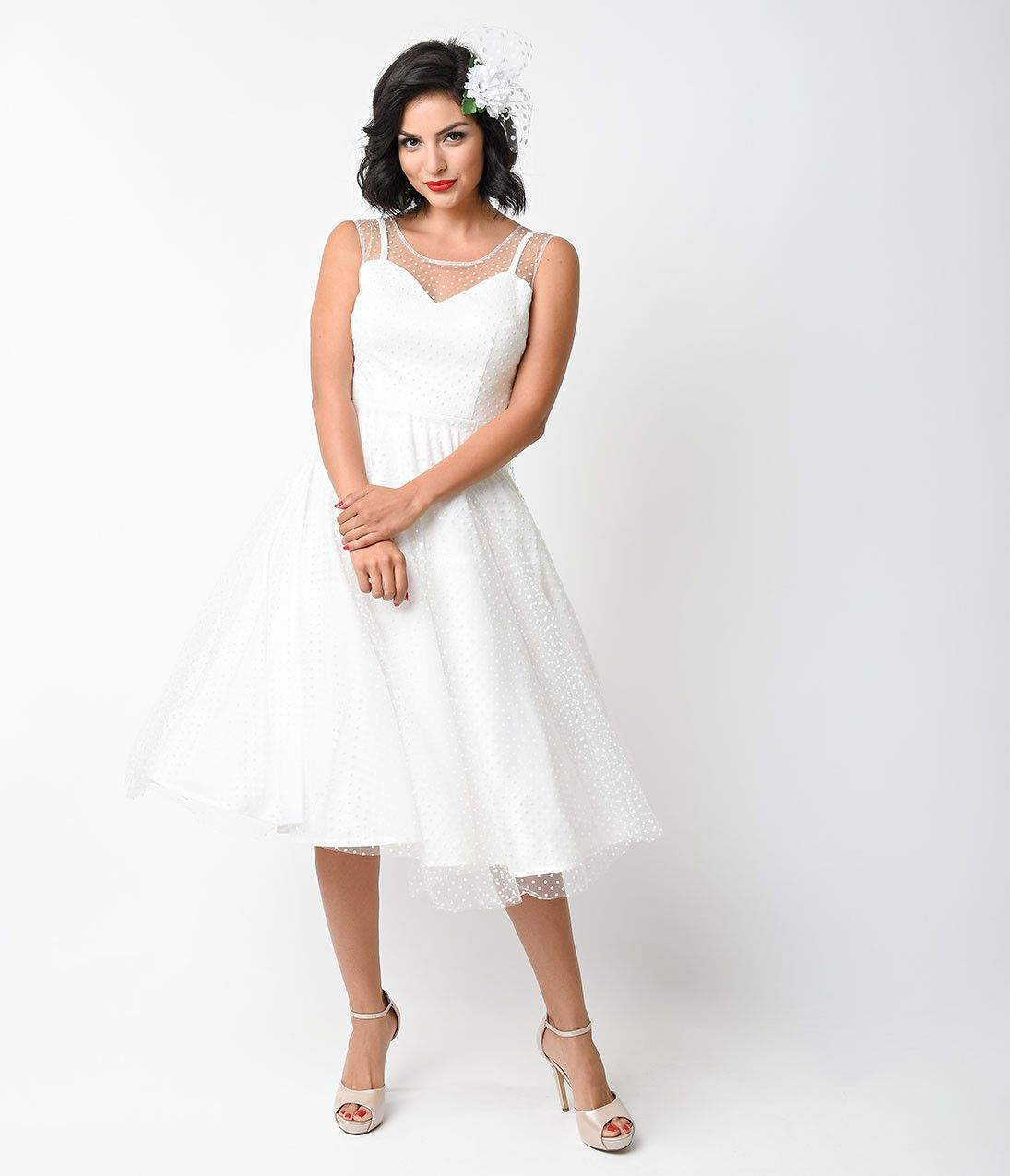 1950s style wedding dresses  Unique Vintage s Style Ivory Dot High Society Swing Dress