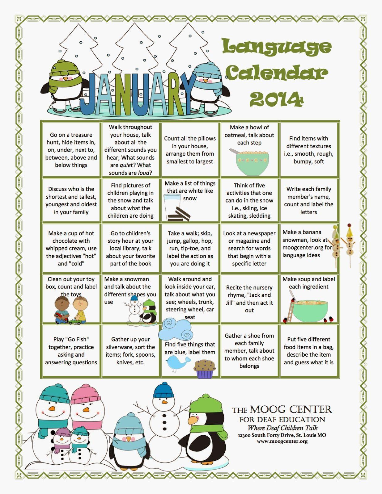 Hearsaylw January Listening And Spoken Language Calendar