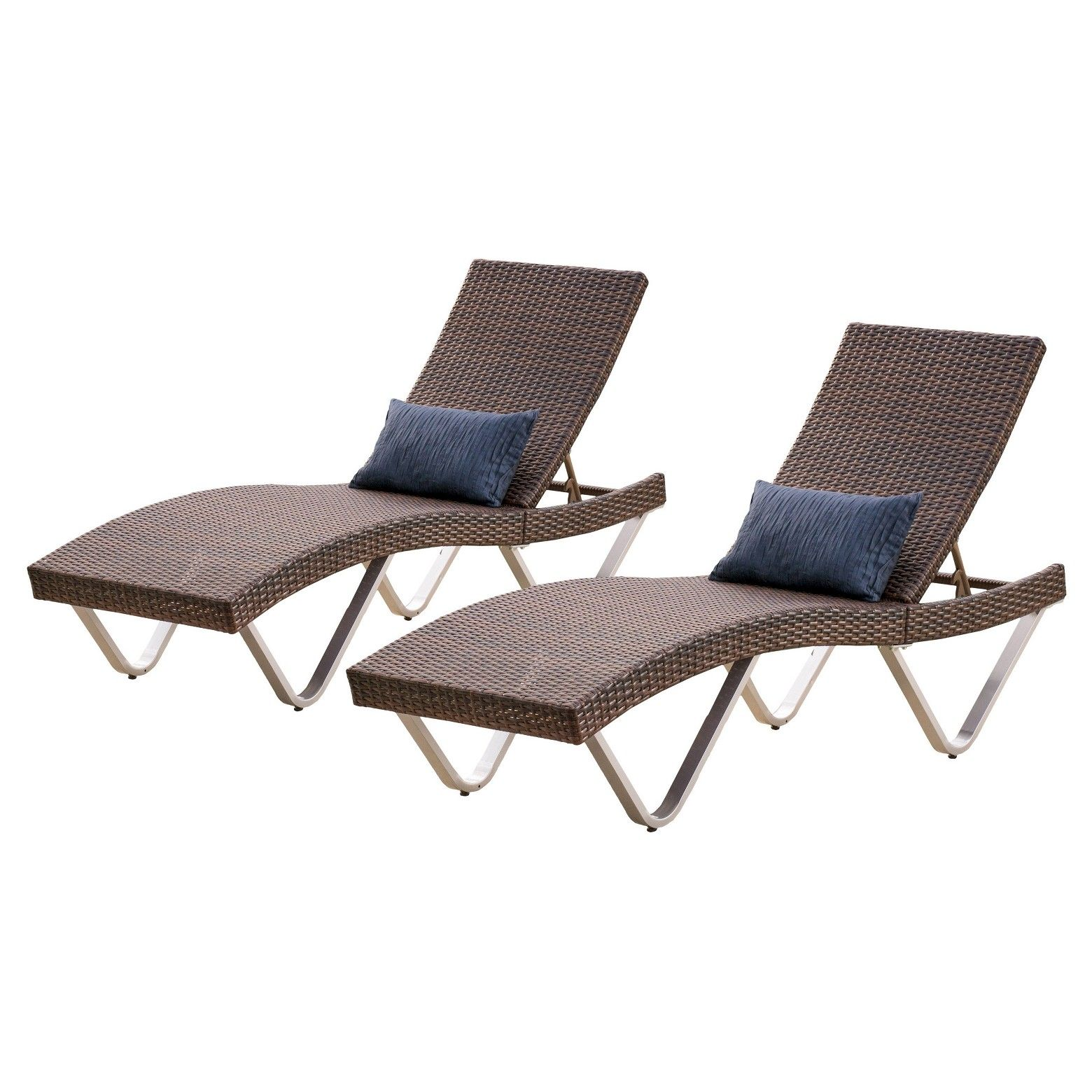 San Marco Set of 2 Wicker Patio Chaise Lounge Brown
