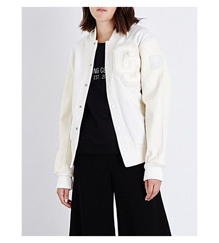 40d729d3a OPENING CEREMONY Logo-Applique Wool And Leather Bomber Jacket ...