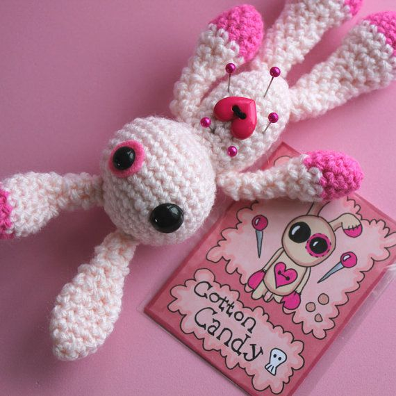 Cotton Candy the Amigurumi Voodoo Bunny by cutedesigns on Etsy, £15.00