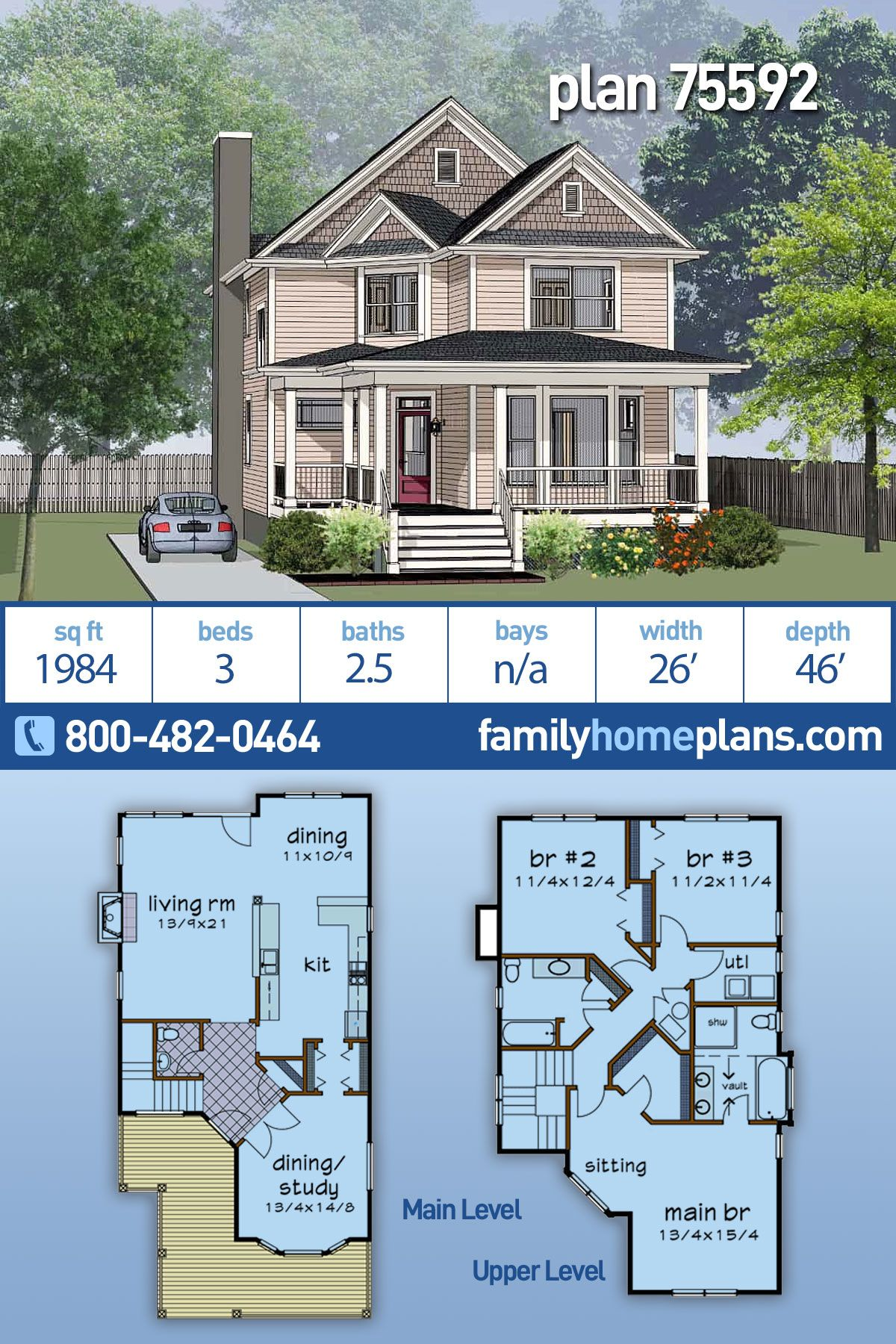 Two Story Neighborhood Style Plan has 1984 sq ft 3 bedrooms and 2 5 Baths Has Great Porch
