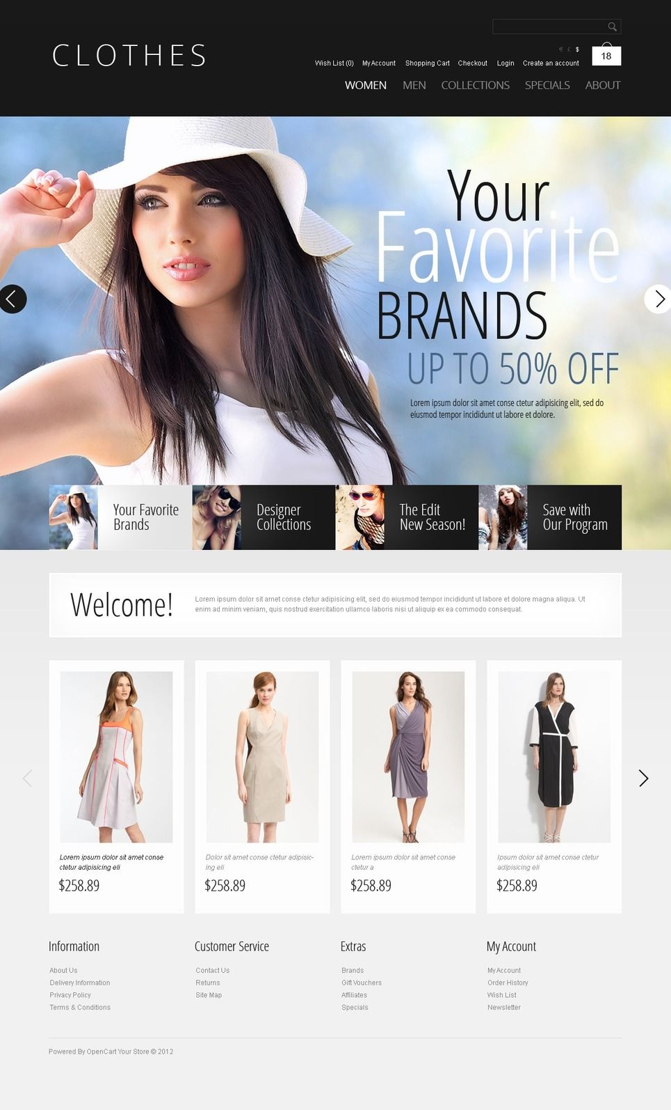 Brand Clothes Opencart Template Websites Templates Pinterest