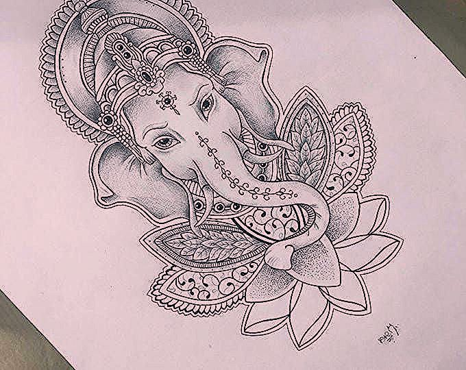 Pin By Audrey Many On Lootus Elephant Tattoos Ganesha Tattoo Sleeve Tattoos