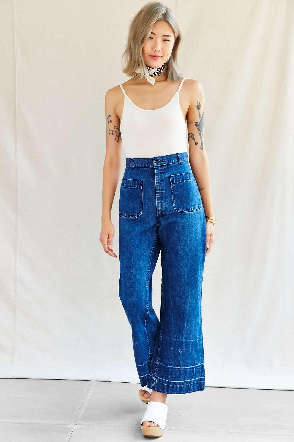 066a8aca Urban Renewal Vintage Drop Hem Sailor Jean | Vintage | Fashion ...