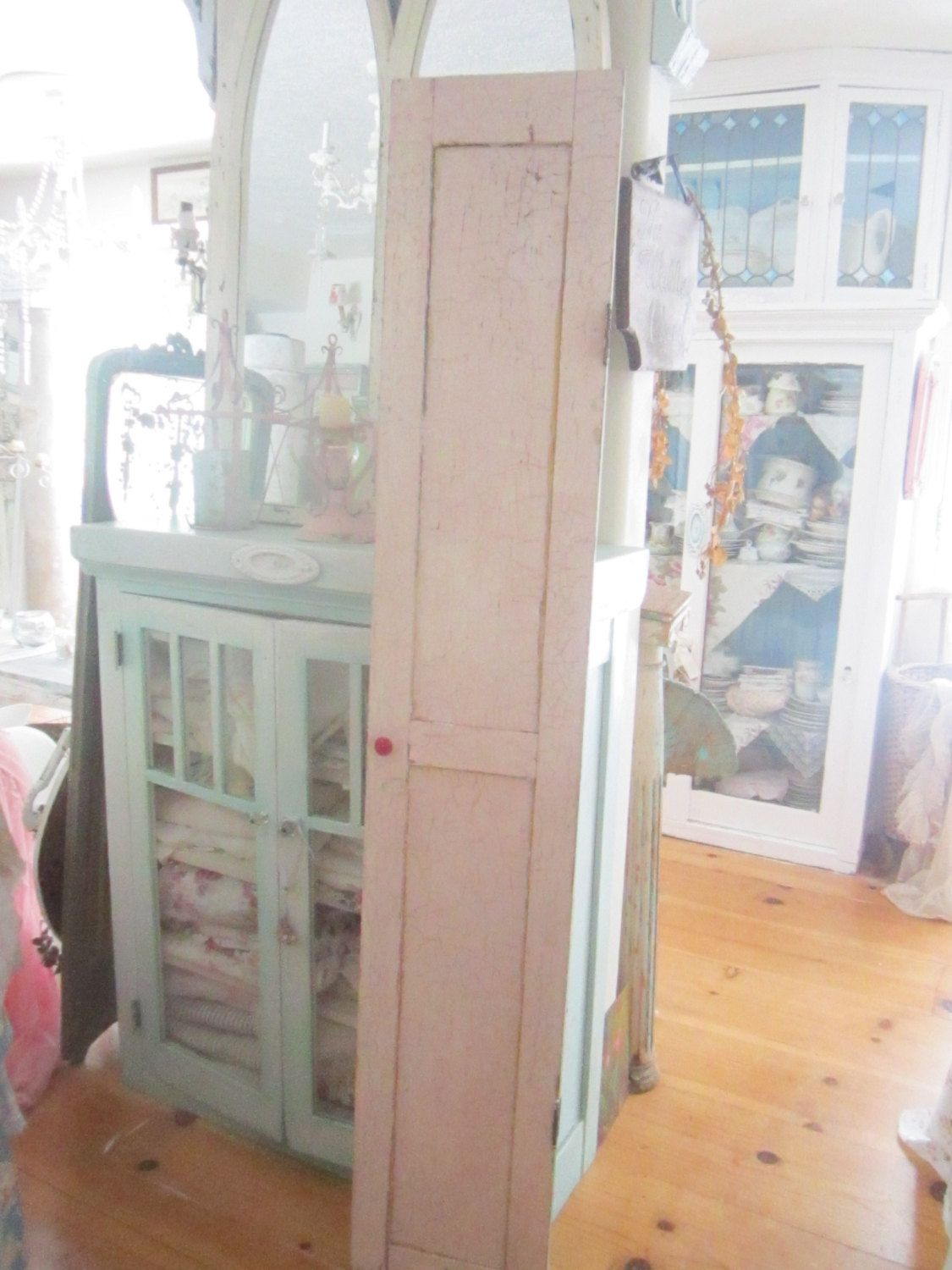 Chippy crackled  door pink shabby chic rustic Bohemian prairie cottage by Vintagewhitecottage on Etsy