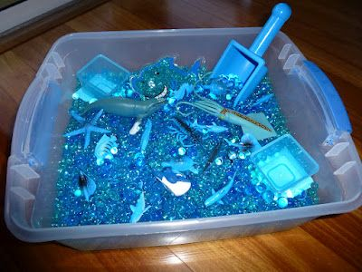 Fun with Water Beads: Blue Ocean Sensory Bin