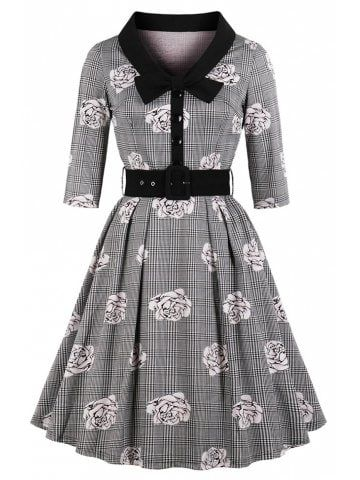 Plus μέγεθος πλέγμα αυξήθηκε Εκτύπωση μακρύ μανίκι φόρεμα  d36754e2532