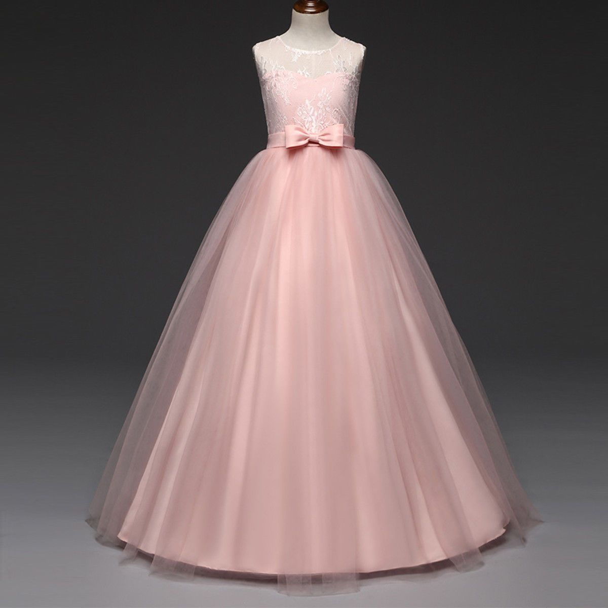 Flower Girl Lace Long Wedding Bridesmaid Dress Kids Princess Pageant ...