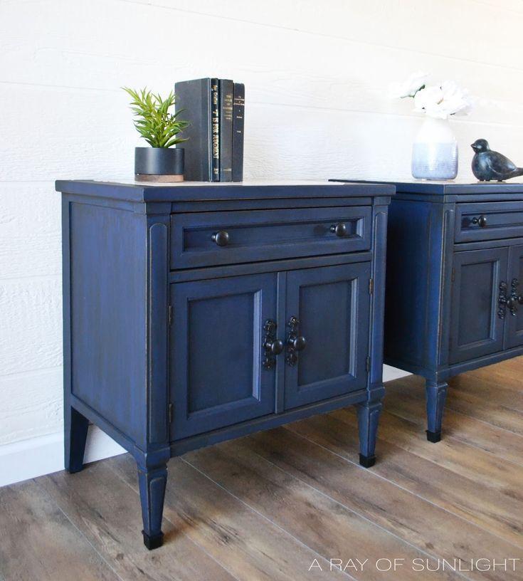 Best The Antique Blue Nightstand Makeover Blue Nightstands 400 x 300