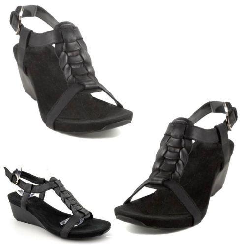 New-BANDOLINO-Hinley-B-Flexible-Ethnic-Boho-Leather-Wedge-Sandal-Shoes-7-5-Black