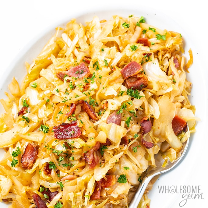 Keto Southern Fried Cabbage Recipe With Bacon | Wholesome Yum