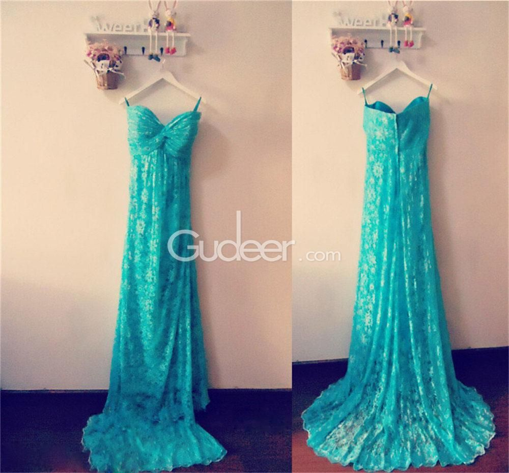 Floral lace patterns strapless sweetheart front knotted long