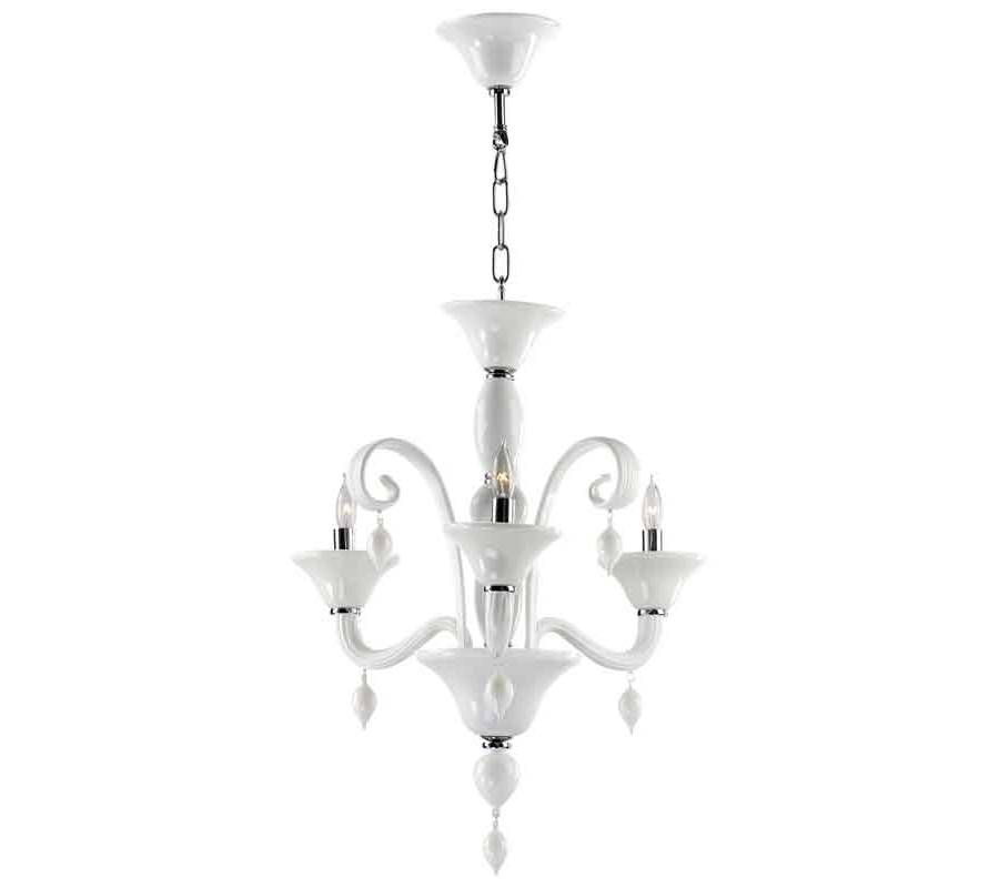 White Glass Three Light Modern Chandelier -  The Cyan Design Treviso White Murano Style Glass chandelier illuminates the area with intimate lighting for a soft glow. The white Murano style glass finish displays a gleaming and smooth look.