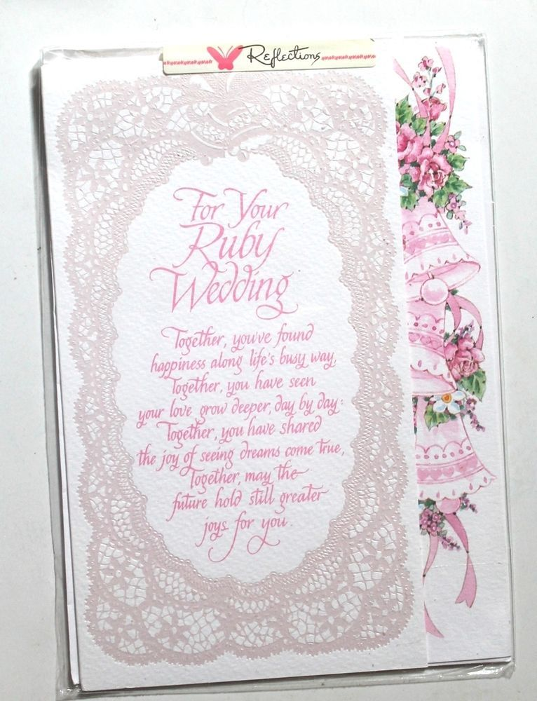 For your Ruby wedding card & envelope, 40 years, bells, flowers ...