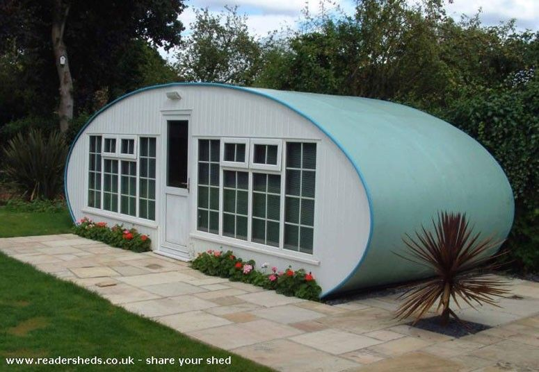 Garden shed that resembles a classic shape of caravan. Jeremy Clarkson said: 'Every invention that has ever mattered in the whole of human history has come from a man in a shed in Britain'. | Tiny homes