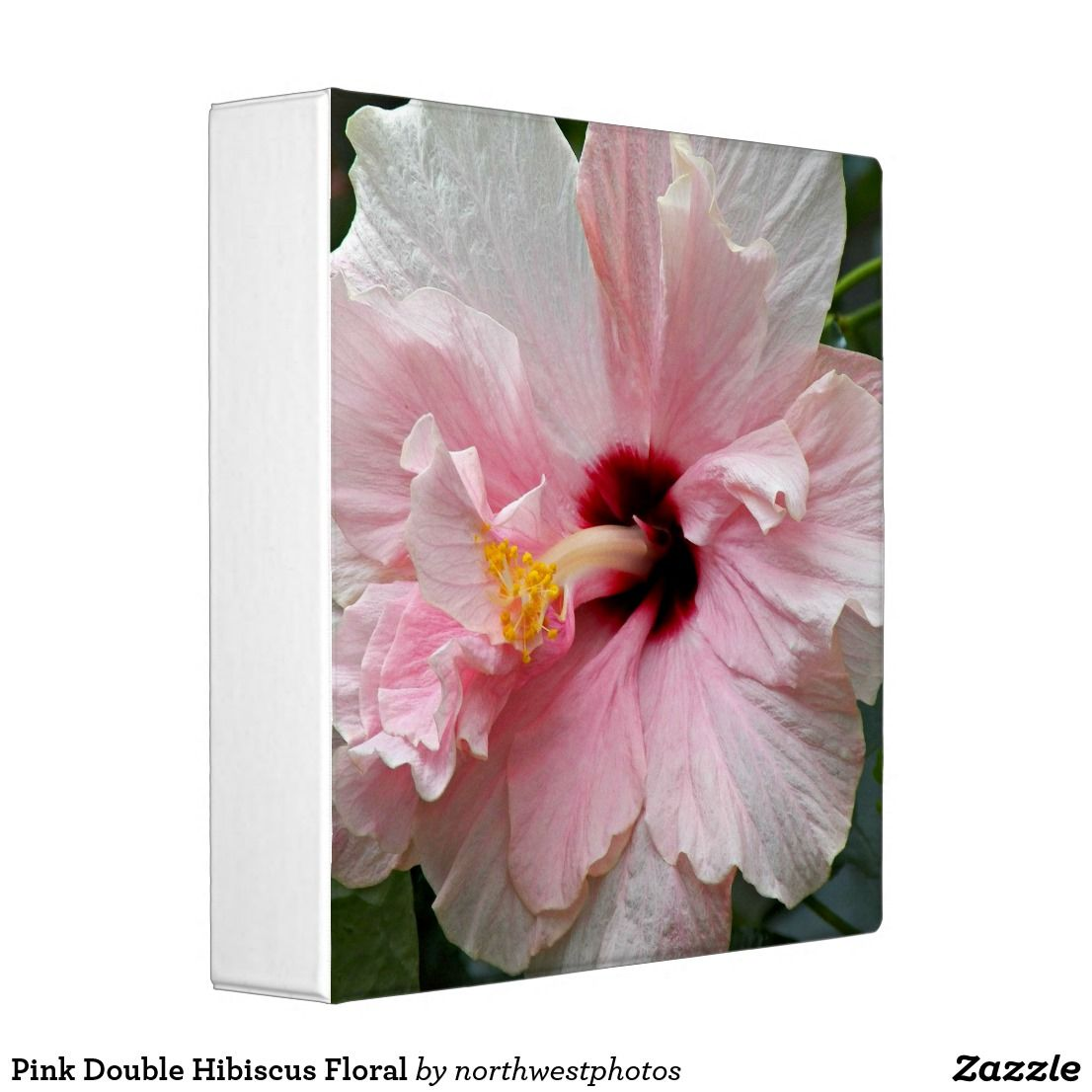 Pink Double Hibiscus Floral 3 Ring Binder