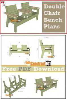 Double chair bench plans, free PDF download, cutting list, and shopping list. #WoodworkingPlansBed