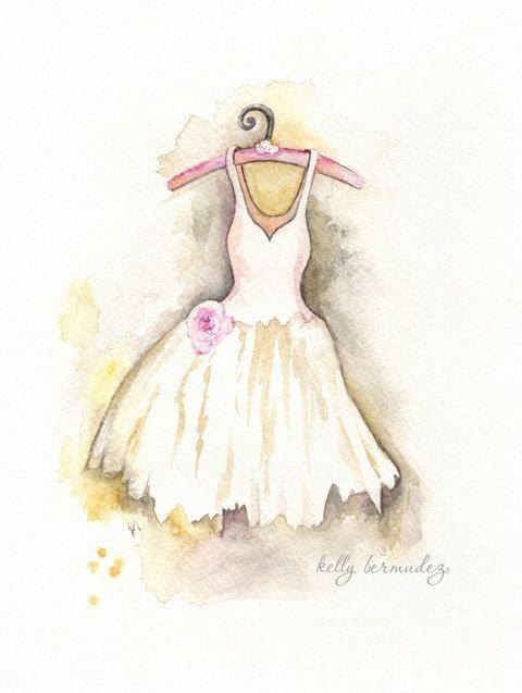 La Princesse / Shabby Chic / Minimal Chic / Watercolor Print. $19.00, via Etsy.