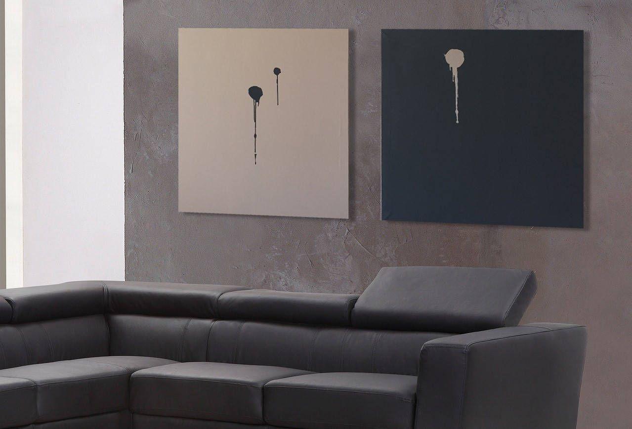 Quadri Grandi Per Salotto coppia quadri astratti monocolore. dittico minimalista