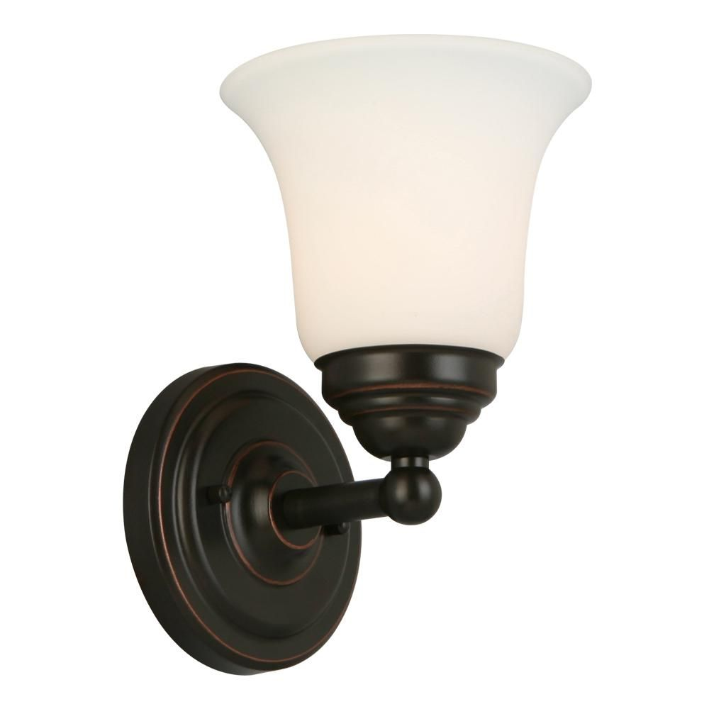 Hampton Bay 1 Light Oil Rubbed Bronze Wall Sconce JIB8411A