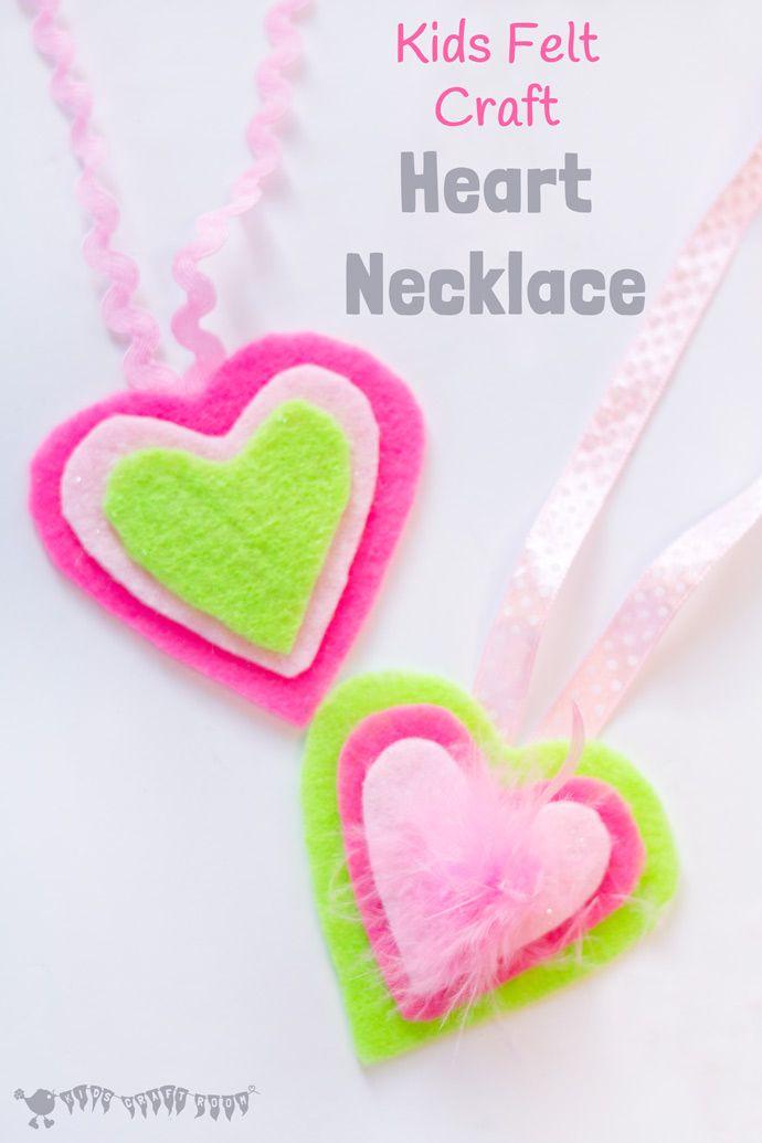 Felt Craft Ideas For Kids Part - 28: Heart Necklace - Kids Felt Craft
