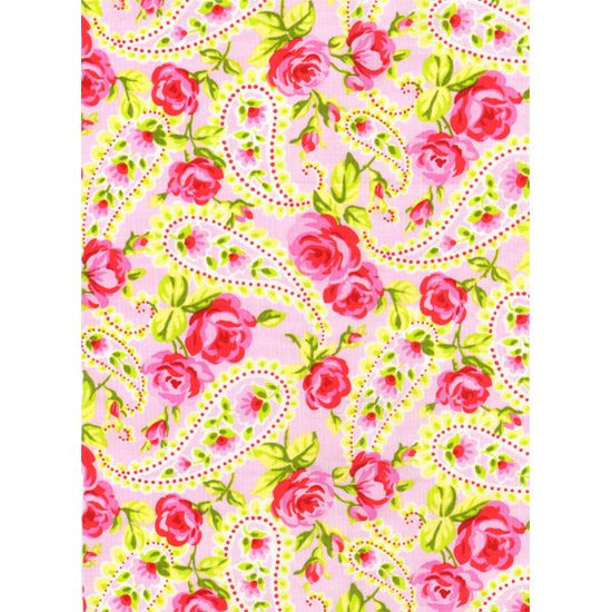Tweet Cotton Fabric TT Pink Paisley Rose Roses Floral Bouquet on Light Pink