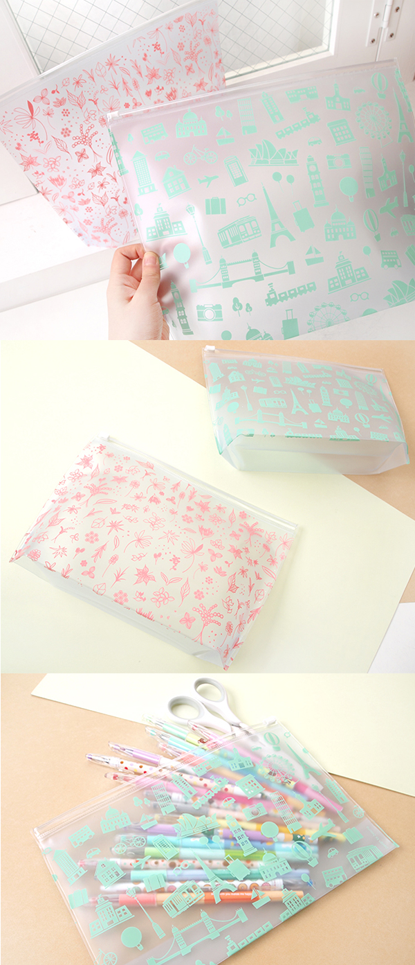 Your perfect everyday accessory is here~! ^.~* The Floral Transparent PVC Pouch comes in 2 sizes and unique translucent designs. Waterproof with an expandable base, this pouch is perfect for makeup, toiletries, travel accessories, or writing tools!