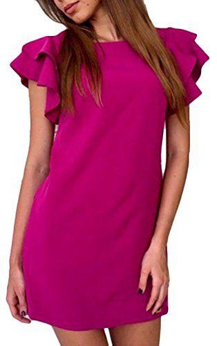12c6f6a24f7a Donna Vestiti Estivi Eleganti Maniche Corte Con Volant Camicia Vestito  Casuale Puro Colore Backless Abito Da