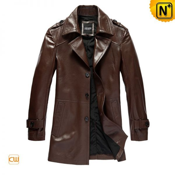 Men's Leather Coats Fashion Slim Epaulets Brown Leather Dust Coat ...