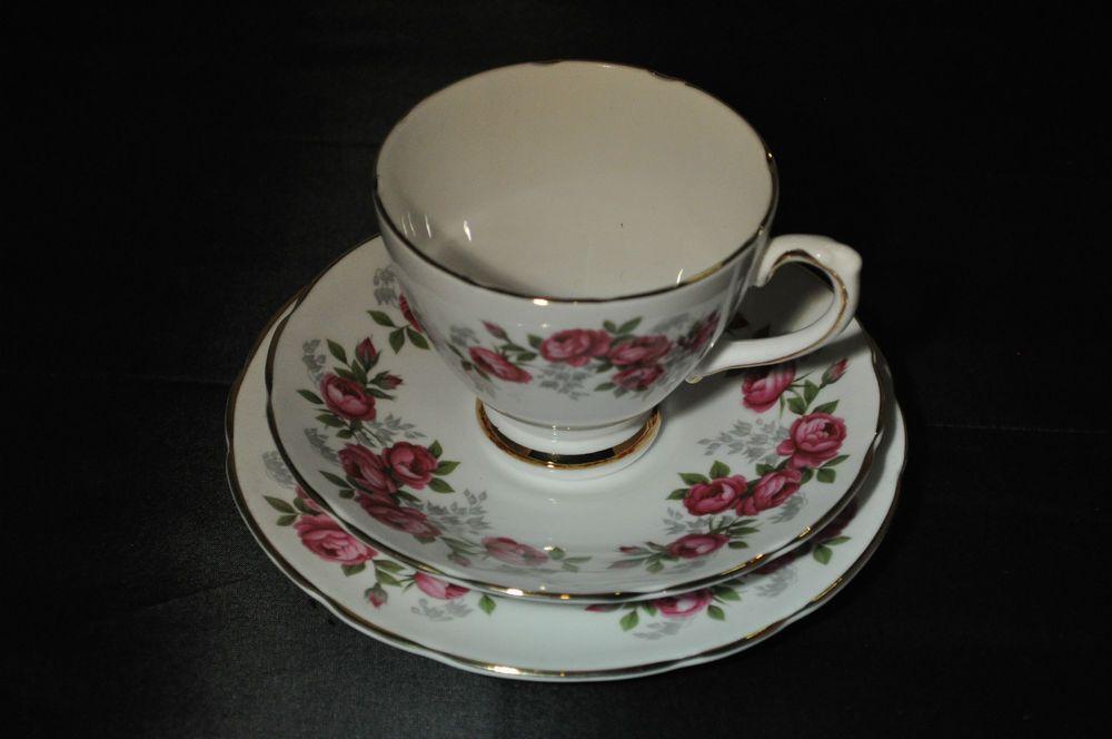 Vintage Royal Sutherland Fine Bone China Cup Saucer Plate Trio Tea Set & Vintage Royal Sutherland Fine Bone China Cup Saucer Plate Trio Tea ...
