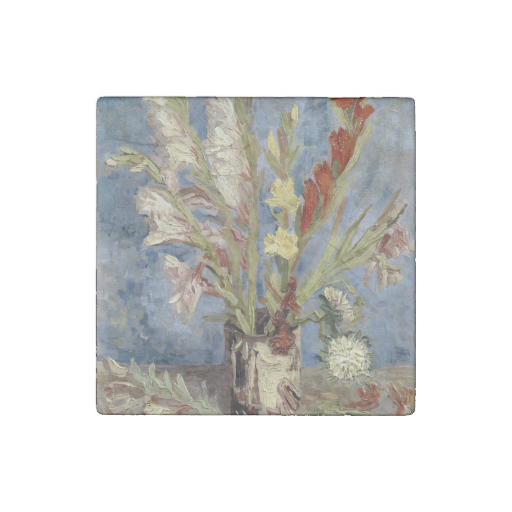 Vase with Gladioli and Chinese Asters by Van Gogh #VanGogh #Stone #Magnet