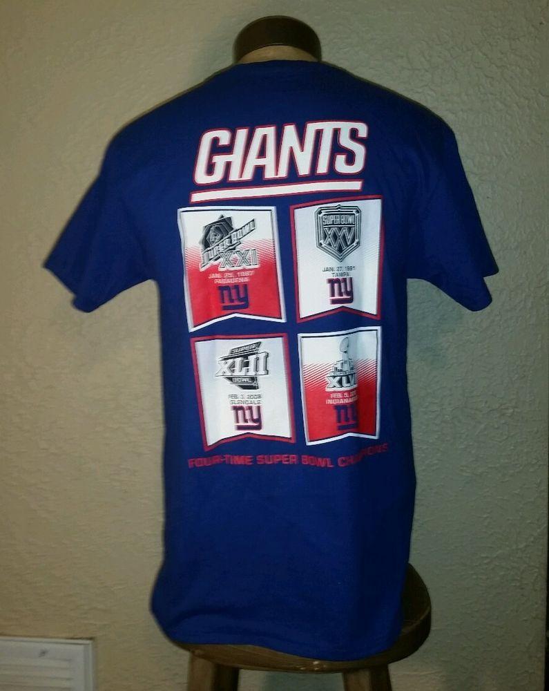 NEW NFL Team Apparel New York Giants 4 Time Super Bowl Champs Shirt Mens  Medium  VFImagewear  NewYorkGiants 292dc0d0e