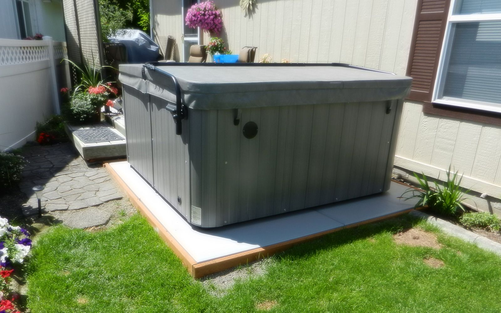 Ez Pad Hot Tub Spa Base Photos Pics And Testimonials Reviews Wiring Instructions How To Install A No Concrete Sand Insulates From Groundreal People Discuss Installation