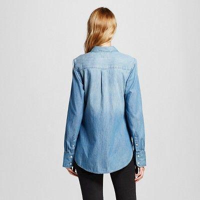 fce55c5586a Women s Denim Favorite Shirt Medium Indigo Xxl - Merona
