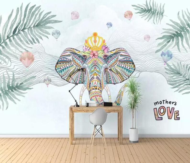 3d Tropical Plant National Style Elephant Wallpaper Removable Self Adhesive Wallpaper Wall Mural Vintage Art Peel And Stick Elephant Wallpaper Traditional Wallpaper Wall Murals